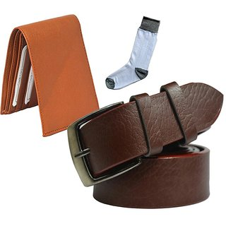 Sunshopping mens brown leatherite needle pin point buckle belt with tan leatherite bifold wallet and white socks (Pack of three) (Synthetic leather/Rexine)