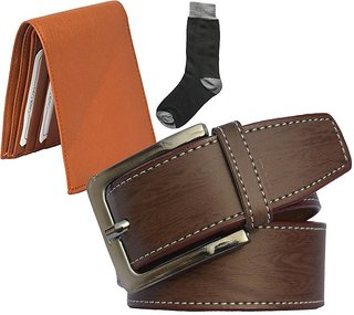 Sunshopping mens brown leatherite needle pin point buckle belt with tan leatherite bifold wallet and black socks (Pack of three)