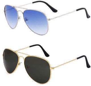 Royal Son Black Aviator and Blue Aviator Unisex Sunglasses Combo