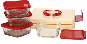 Somil Stylish Food Grade Plastic & Glass Conttainer Cum Tiffin Set With Easy To Carry Designer Plastic Case
