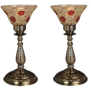 Somil New Designer Central Table Lamp With Colorful Glass Decorative With Colorful Beads & Chips & High Quality Stand DA4