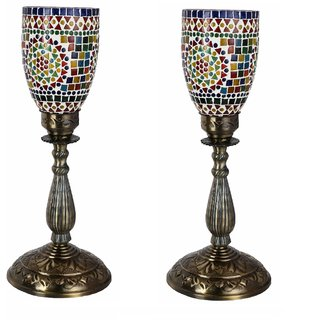 Somil New Designer Central Table Lamp With Colorful Glass Decorative With Colorful Beads & Chips & High Quality Stand DA10