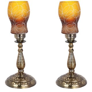 Somil New Designer Bed Corner & Central Table Lamp With Colorful Decorative Glass And Royal Look High Quality Stand nx21