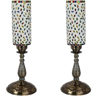 Somil New Designer Central Table Lamp With Colorful Long Glass Decorative With Colorful Beads & Chips & High Quality Stand Bg2