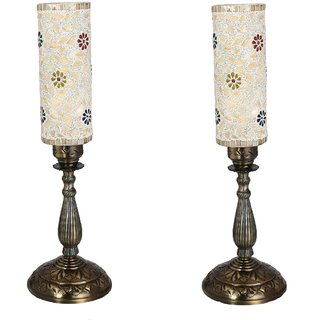 Somil New Designer Central Table Lamp With Colorful Long Glass Decorative With Colorful Beads & Chips & High Quality Stand Bg3