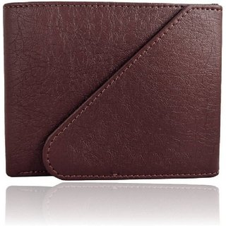 Pure Leather Stylish Wallet for men, Brown, (M-0022) (Synthetic leather/Rexine)