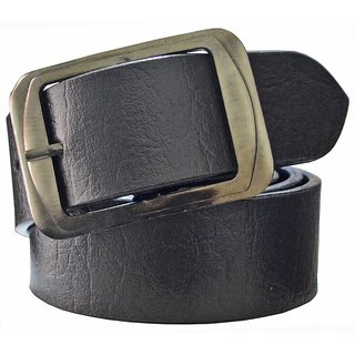 Sunshopping mens black leatherite needle pin point buckle belt (Synthetic leather/Rexine)