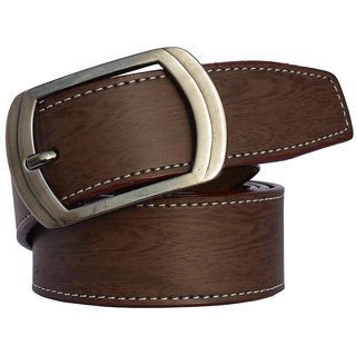 Sunshopping mens brown leatherite needle pin point buckle belt (Synthetic leather/Rexine)