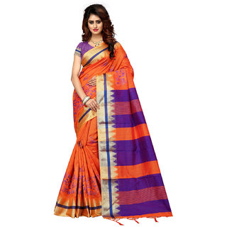Greenvilla Designs Orange Silk Saree