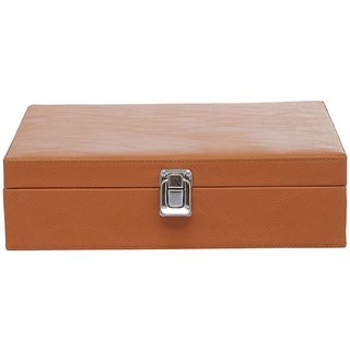 Leather World 15 Compartments Tan PU Leather Designer Watch Box Case with Lock Closure