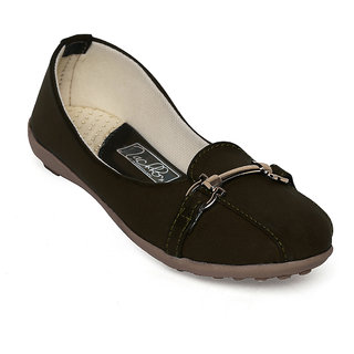 Zachho Brown Artificial Leather Foam Leather Ballerinas