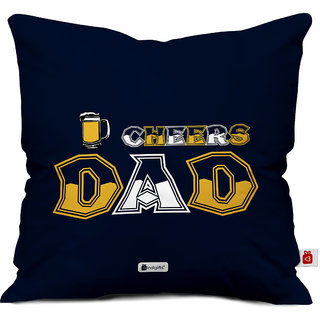 Indigifts Fathers Day Gifts Cheers Dad Decorative Cushion Cover 12x12 Inches With Filler Blue