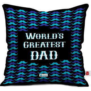Indigifts Fathers Day Gifts Worlds Greatest Dad Decorative Cushion Cover 12x12 Inches With Filler Black