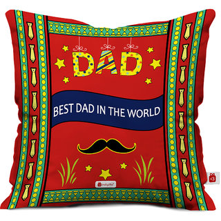 Indigifts Fathers Day Gifts Best Dad In The World Decorative Cushion Cover 18x18 Inches Red