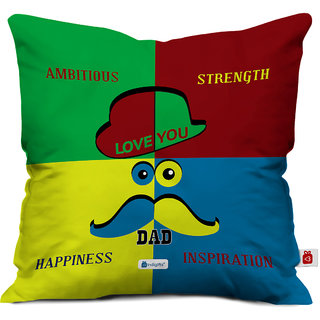Indigifts Father Birthday Gifts Cushion Cover Satin Multicolor 16x16 Inches Set Of 1