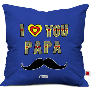 Indigifts Father Birthday Gifts I Love You Papa Beautiful Cushion Cover 16x16 Inches Blue