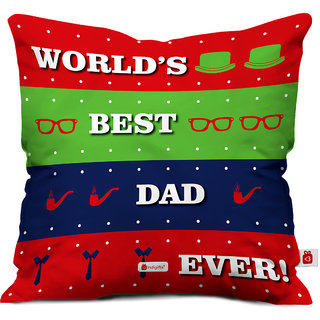Indigifts Papa Gifts Birthday Worlds Best Dad Ever Ethnic Cushion Cover 16x16 Inches Multi Color
