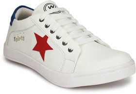 White Walkers Men's Star Sneakers White Casual Shoes