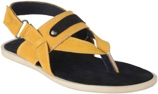 Port Men's Yellow Leather New Look Casual Sandal