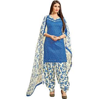 Meia Blue Cotton Floral Kurta & Patiyala Material