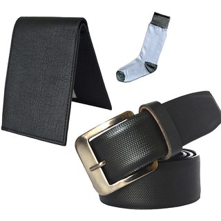 Sunshopping mens black leatherite needle pin point buckle belt with black leatherite bifold wallet and white socks (Pack of three)