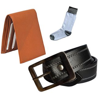 Sunshopping mens black leatherite needle pin point buckle belt with tan leatherite bifold wallet and white socks (Pack of three) (Synthetic leather/Rexine)