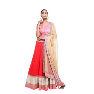 ee4def829f Buy Pushp Paridhan Designer New Collection Traditional Ethnic Wear Machine  With Hand Work Red,Pink Lehenga Choli Set For Women Online - Get 10% Off