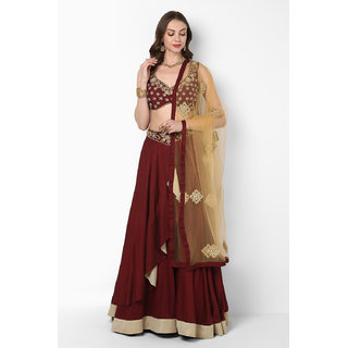 2d62888c3d888 Buy Pushp Paridhan Traditional Ethnic Wear New Collection Zardosi work with  Hand Work Maroon Lehenga Choli Set For Women Online - Get 11% Off