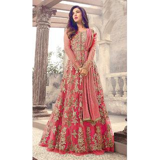 Designer Pink Color Long Gown With Fany Work SKU ER110112