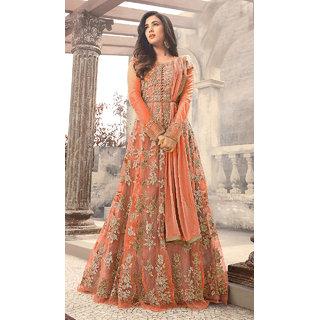 Designer Orange Color Long Gown With Fany Work SKU ER110110