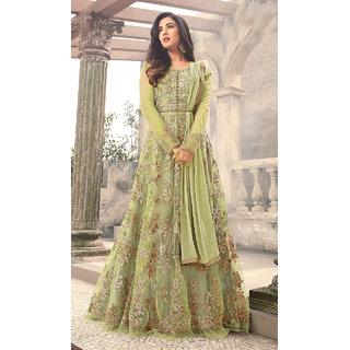 Designer Leoman Green Color Long Gown With Fany Work SKU ER110108