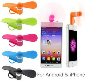 Pack of 3 V8 Mini Fans for Smartphones by KSJ Accessories (Assorted Colors)