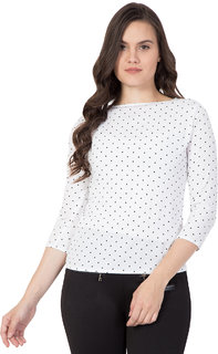 DELUX LOOK Women's Crepe White printed top