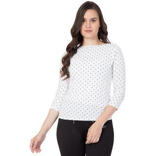DELUX LOOK Women's Crepe White printed top