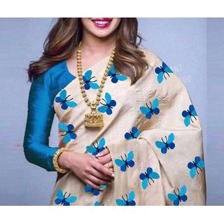 Bollywood Style Embroidered Zarana Silk Saree with Contrast Blouse