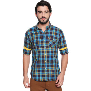 Jeaneration Men's Blue Cotton Checkered Shirt