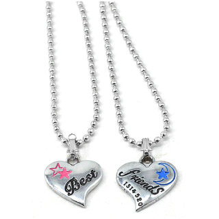 Sullery Two Piece Heart Charm Best Friend Letter Engraved Couple Pendant Necklace Friendship Jewelry