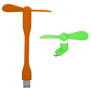 Combo of USB Fan and V8 Fan by KSJ Accessories (Assorted Colors)