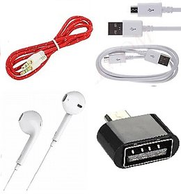Combo of Wired Earpod Earphone, Data Cable, Aux Cable and OTG Adapter (Multicolor)