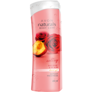 Naturals Red Rose Peach Shower Gel 200ml (Restage)