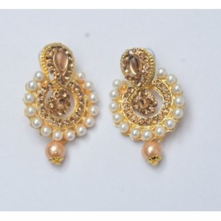 Golden coloured Ethnic wear Earrings with Pearl Border For girls and women