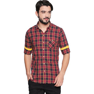 Jeaneration Men's Pink Cotton Checkered Shirt