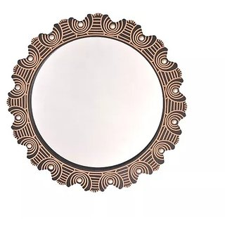 Onlineshoppee Wooden Antique With Handicraft Work Fancy Design Mirror Frame