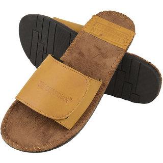 Men'S Casual Stylish Velcro Tan Leather Slide Sandal