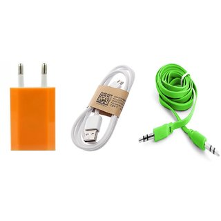 C2 - Combo of Wall charger, Data cable and Aux Cable for Smartphones (Assorted Colors)