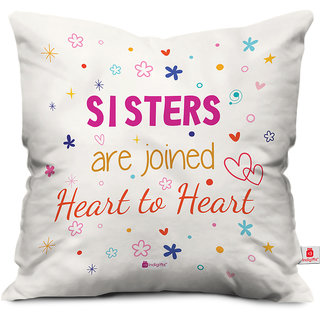 Indigifts Rakhi Gifts for Sister Sis are Heart to Heart Colorful White Cushion Cover 16x16 - Raksha Bandhan Gifts for Sister on her Birthday and Anniversary