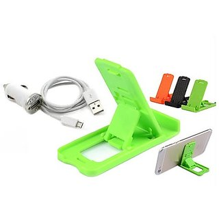 3 in 1 combo of Car charger, data cable and Small Stand (Assorted Colors)
