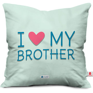 Indigifts Rakhi Gifts for Brother I Love My Bro Digital Printed Blue Cushion Cover 18x18 - Raksha Bandhan Gifts for Brother on his Birthday and Anniversary