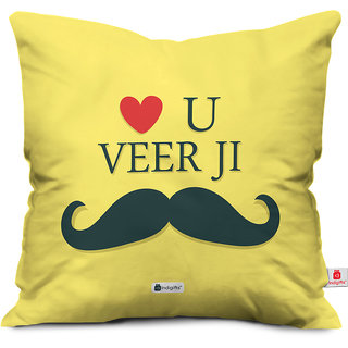 Indigifts Rakhi Gifts for Brother Love you Veer Ji Moustache Yellow Cushion Cover 12x12 with Filler - Raksha Bandhan Gifts for Brother on his Birthday and Anniversary