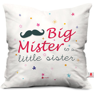Indigifts Rakhi Gifts for Brother Big Mister to Lil Sis Colorful White Cushion Cover 16x16 - Raksha Bandhan Gifts for Brother on his Birthday and Anniversary